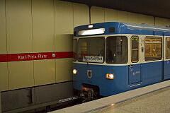 """A-Wagen 230 mit Steckschild """"Messestadt West"""" im bauma-Einsatz"""