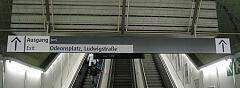 Leitsystem Odeonsplatz - Rolltreppe Richtung Ausgang Odeonsplatz