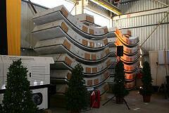 Gelagerte Tübbings für den Tunnelvortrieb in Moosach