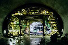 Schalung zur Betonierung der Innenschale des Tunnels Oberwiesenfeld-OEZ