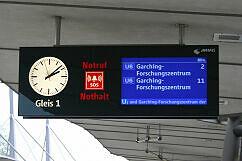 Zugzielanzeiger in Garching-Hochbrück