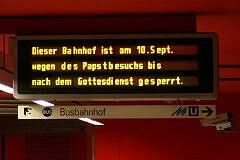 Gesperrte Bahnhöfe zum Papstbesuch 2006