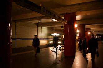 Aktivierte Notbeleuchtung während Stromausfall am Odeonsplatz