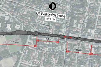 Lageplan des geplanten U-Bahnhofs Willibaldstraße