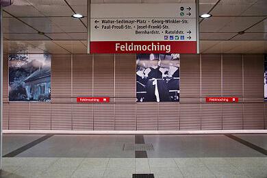 U-Bahnhof Feldmoching Gleis 2 mit endendem Zug vom Typ A auf Gleis 1