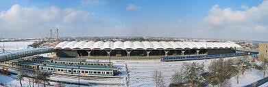 U-Bahnhof Fröttmaning mit Teilen des Betriebshof Nord