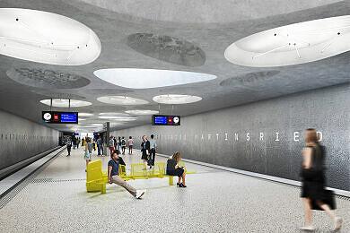 Rendering des geplanten U-Bahnhofs Martinsried