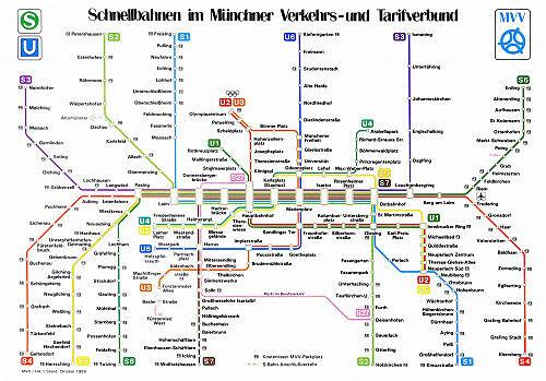Schnellbahnnetzplan Oktober 1989