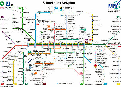 Schnellbahnnetzplan November 1998