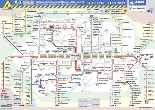 Schnellbahnnetzplan 31.10.2016-31.03.2017 zur U3-Baustelle