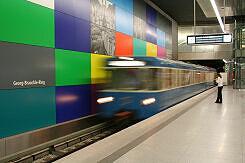 Einfahrender A-Wagen im U-Bahnhof Georg-Brauchle-Ring