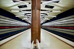 Südlicher Zugang im U-Bahnhof Milbertshofen.
