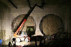 Streckentunnelbeginn vor dem Schildvortrieb in Moosach