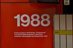 Inschrift im U-Bahnhof Ostbahnhof zur Eröffnung der U-Bahn 1988
