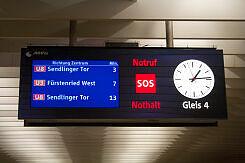 Zugzielanzeiger im U-Bahnhof Olympiazentrum