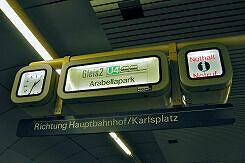 Zugzielanzeiger im U-Bahnhof Schwanthalerhöhe