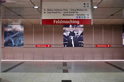 Feldmoching Gleis 2 mit endendem Zug vom Typ A auf Gleis 1