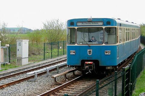 A-Wagen 366 bei der Einfahrt nach Garching-Hochbrück