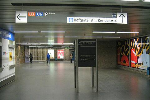 Leitsystem Odeonsplatz - Sperrengeschoß Odeonsplatz Blickrichtung Hofgarten