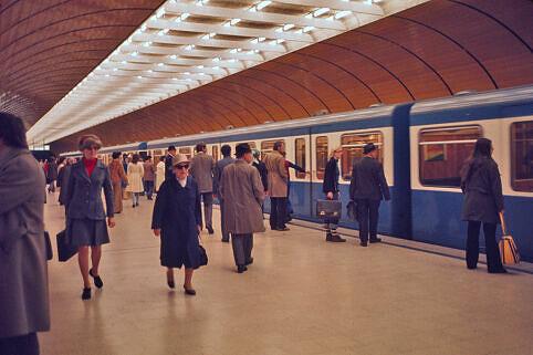 Fahrgastandrang am Marienplatz im Jahr 1974