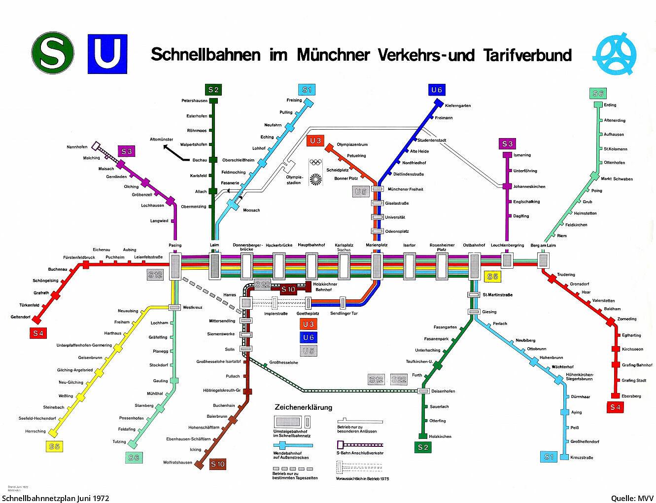 Mvv Zonen Karte.Plane Des Mvv Schnellbahnnetzes Von 1972 Bis Heute U Bahn