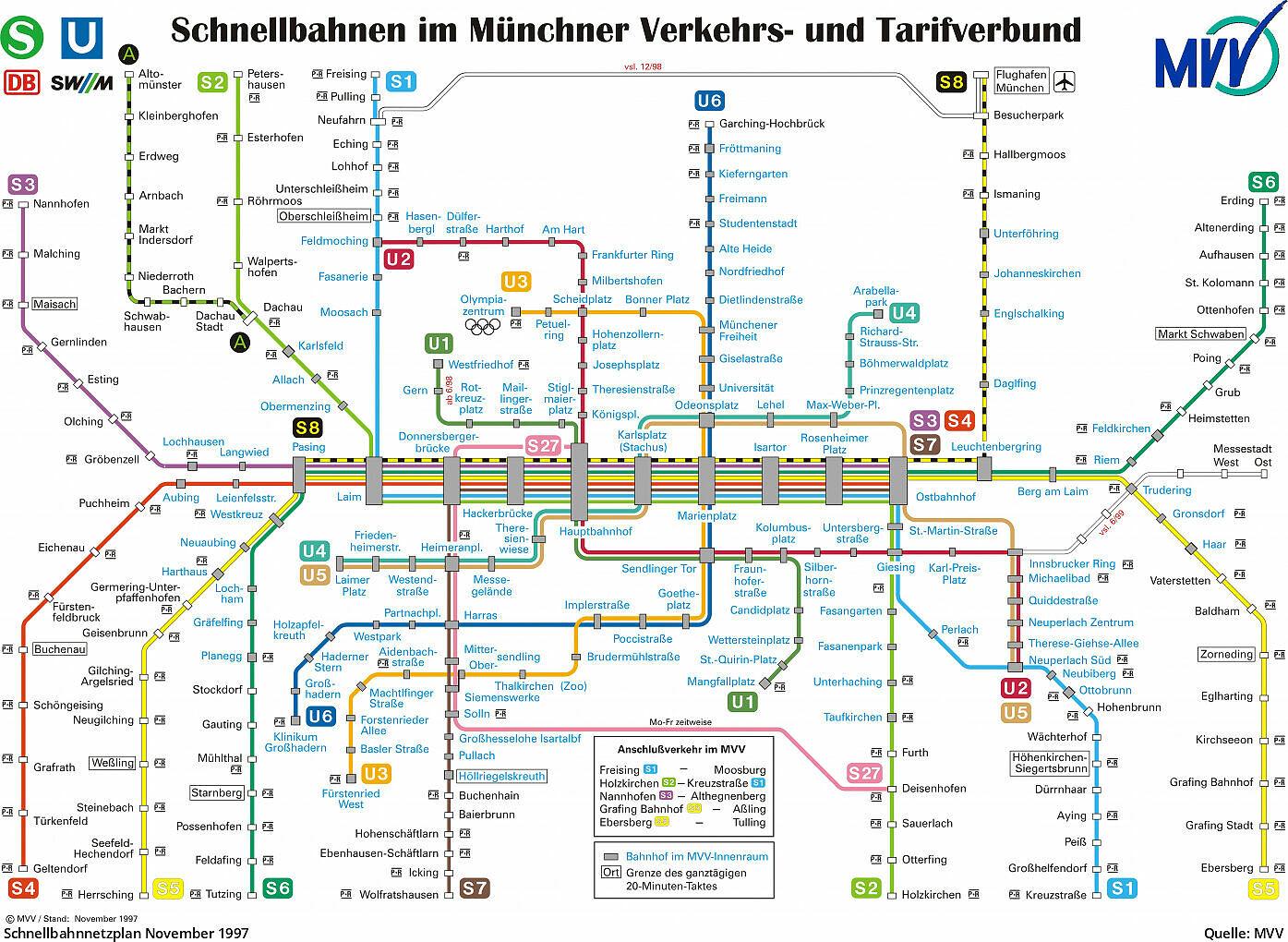Karte München S Bahn Netz.Pläne Des Mvv Schnellbahnnetzes Von 1972 Bis Heute U Bahn München