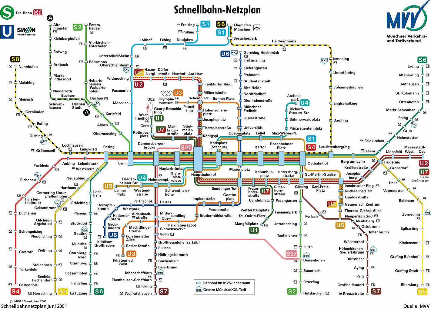 S Bahn Karte München.Pläne Des Mvv Schnellbahnnetzes Von 1972 Bis Heute U Bahn München