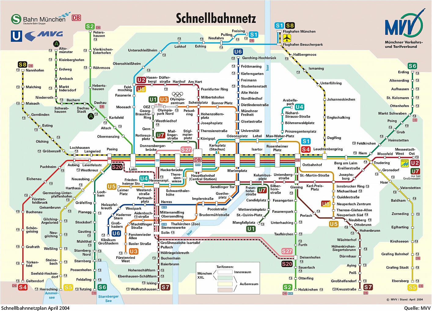 u bahn karte münchen U Bahn München   Schnellbahnnetz von 1972 bis heute u bahn karte münchen