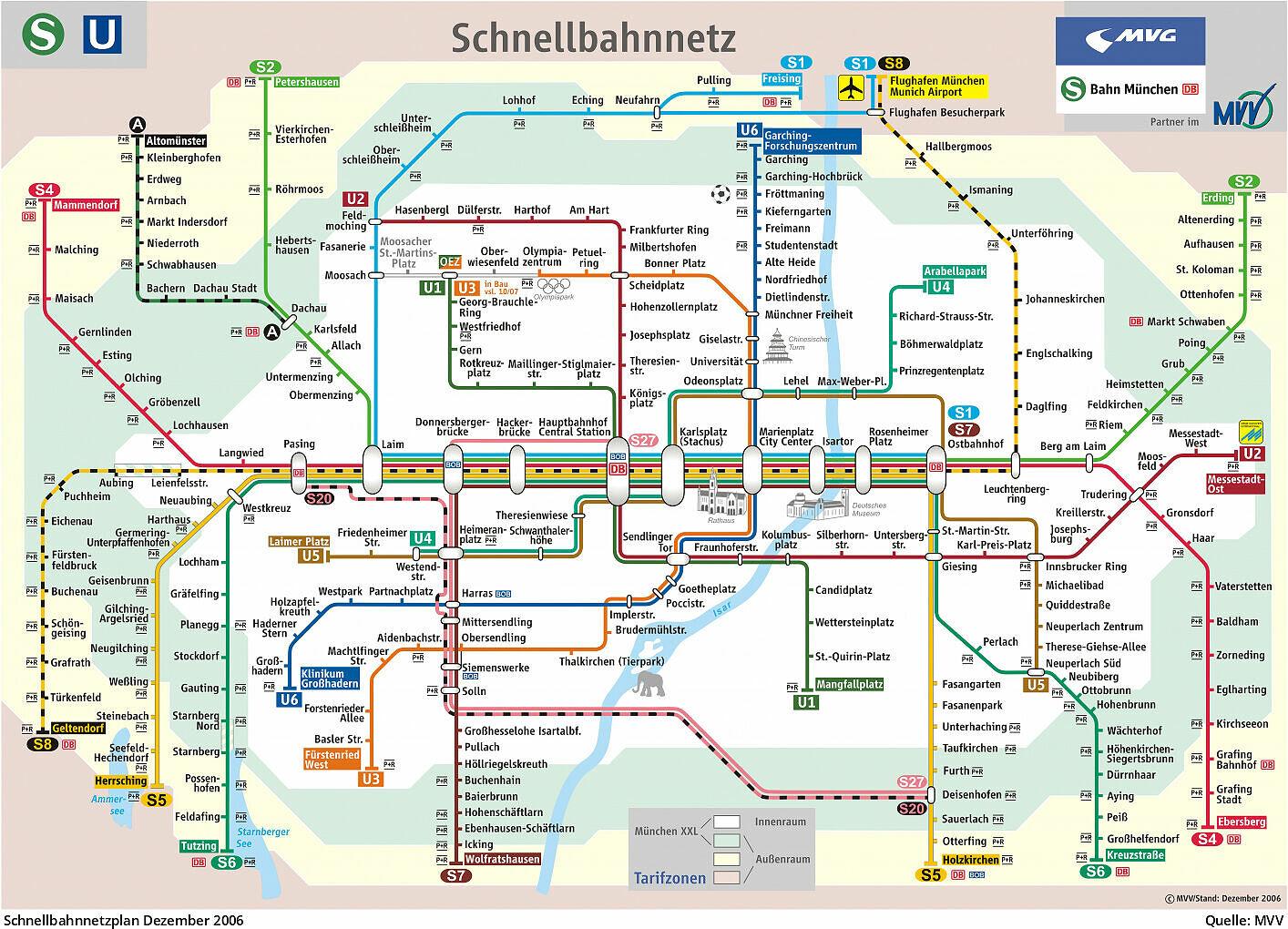 Mvv Karte.Pläne Des Mvv Schnellbahnnetzes Von 1972 Bis Heute U Bahn München