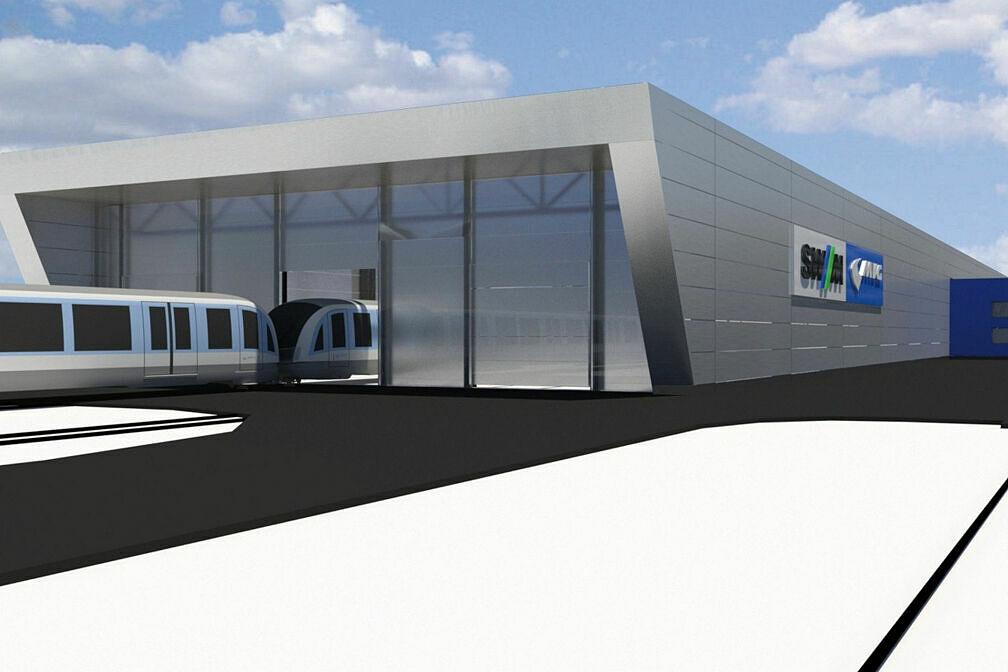 Simulation der geplanten neuen Wartungshalle im Betriebshof Nord