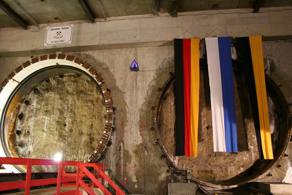 Tunneltaufe Moosach, Startposition für Schildvortrieb