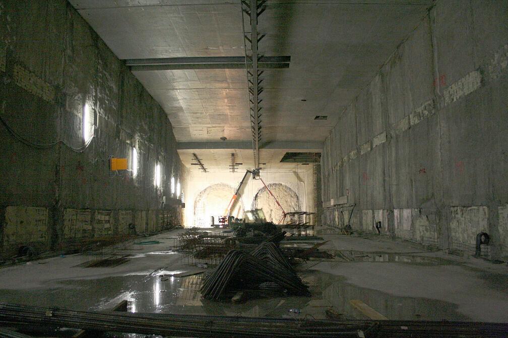 Blick vom künftigen U-Bahnhof Moosach Richtung OEZ