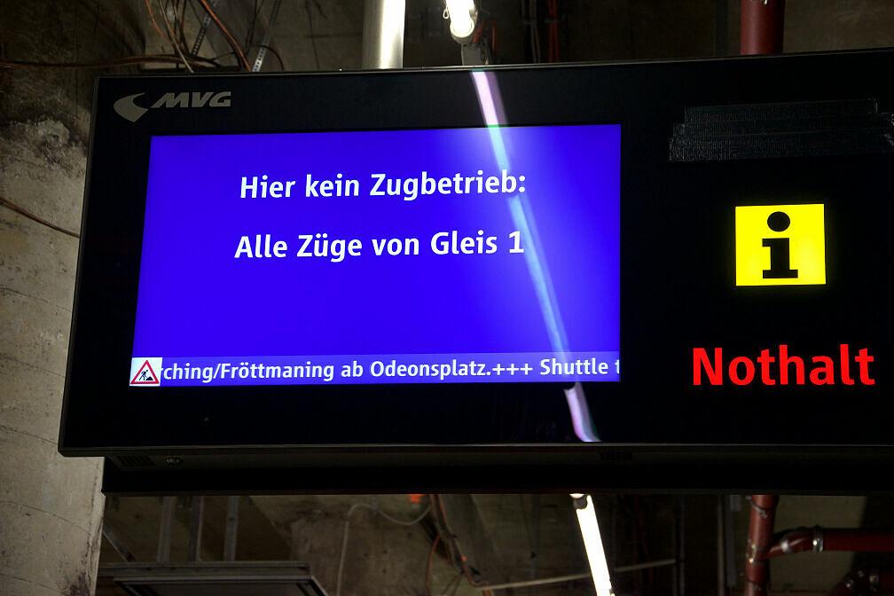 Zugzielanzeiger am Sendlinger Tor: Pendelbetrieb wegen Bauarbeiten